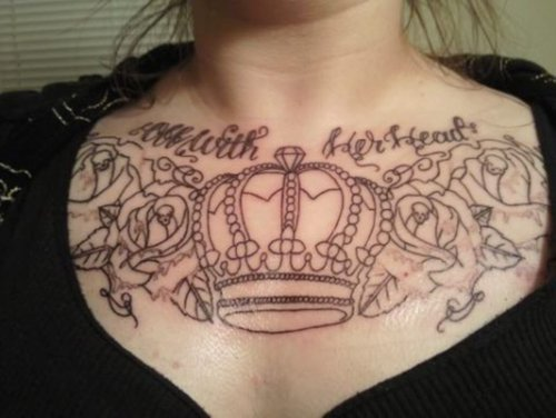 Outline Roses And Queen's Crown Chestpiece Tattoos
