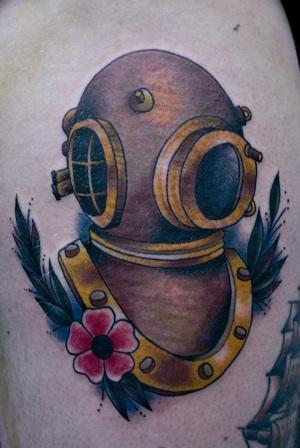 Outstanding Diver Helmet And Flower Tattoos