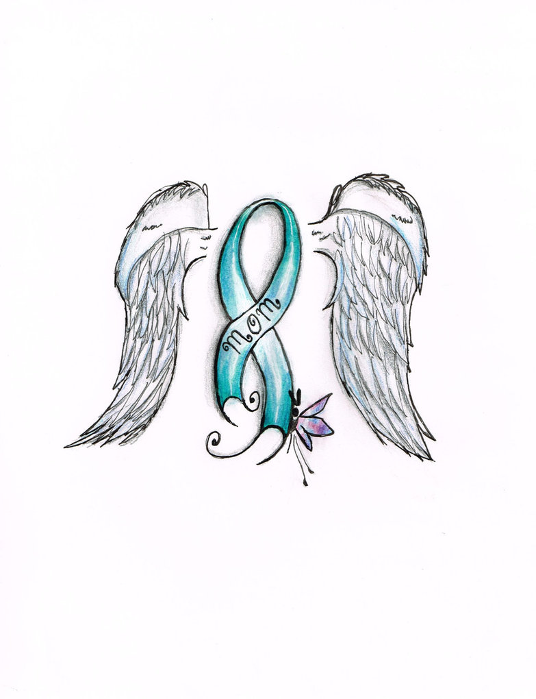 Ovarian Cancer Ribbon With Wings Tattoo Sample
