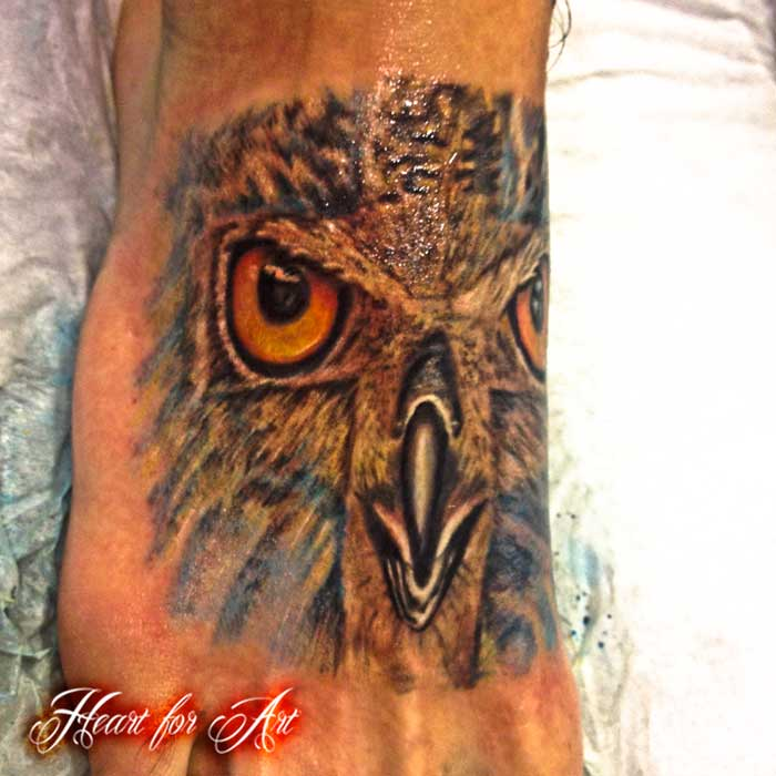 Owl Face Portrait Tattoo On Foot