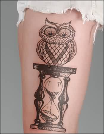 Owl On Hourglass Temporary Tattoo