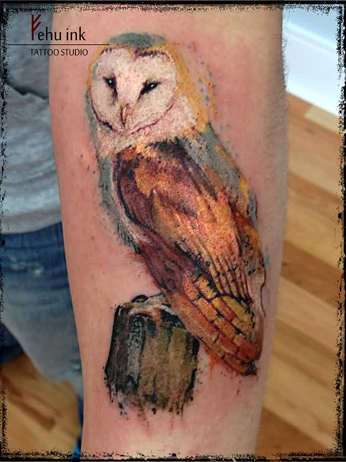 Owl Sitting Watercolor Tattoo