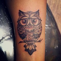 Owl Wearing Glasses Tattoo