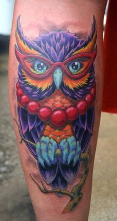 Owl Wearing Red Glasses Tattoo On Leg