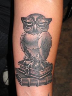 Owl With Glasses Tattoo