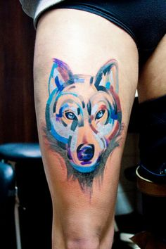 Perfect Watercolor Wolf Head Tattoo On Thigh