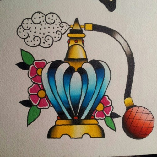 Perfume Bottle And Flower Tattoos Flash