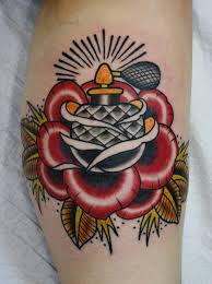 Perfume Bottle In Red Rose Tattoo