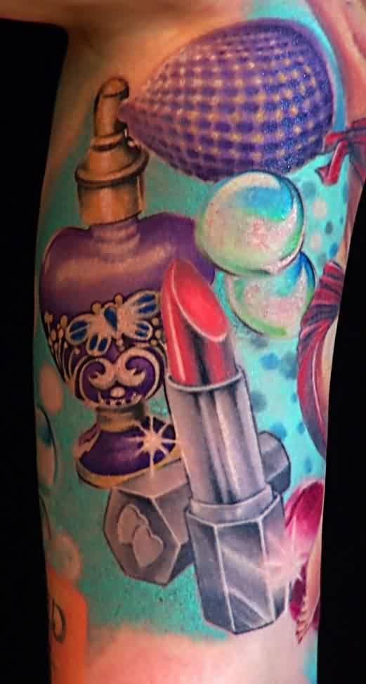 Perfume Bottle Lipstick And Bubble Tattoos On Inner Arm
