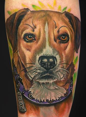 Pet Portrait Tattoo On Arm