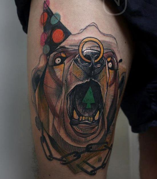 Peter Aurisch Animal Tattoo On Thigh