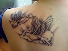 Pigeons And Cloud Tattoos On Back Shoulder