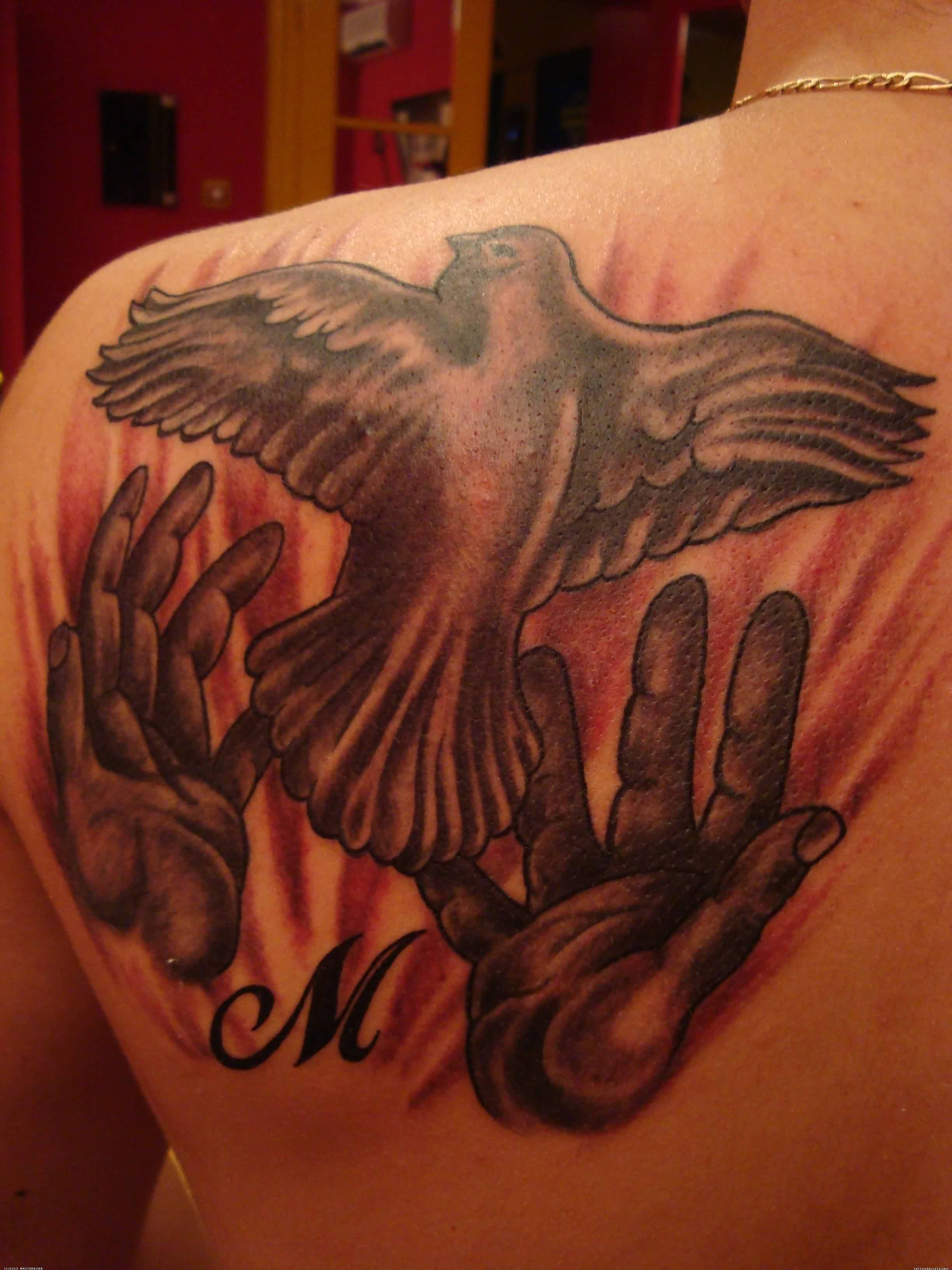 Pigeons From Hand Tattoo On Back Shoulder