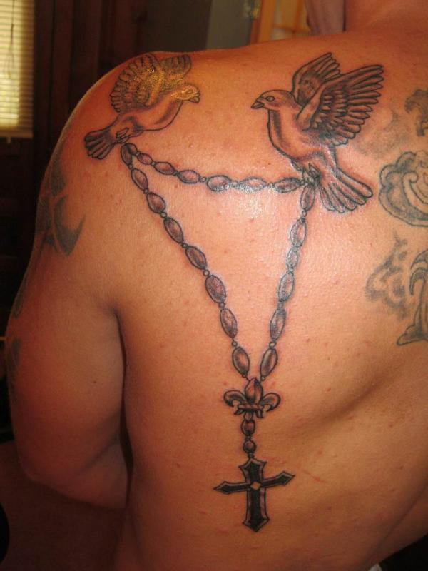 Pigeons With Rosary Tattoo On Back Shoulder
