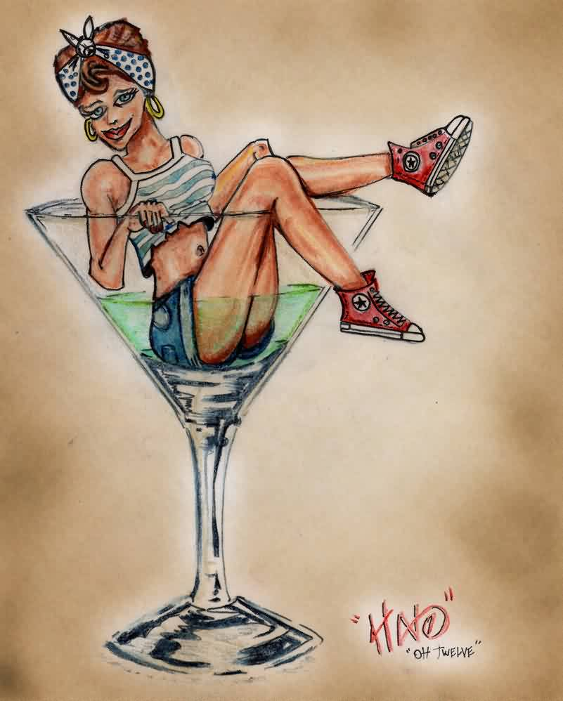 Pin Up Girl Sitting In Glass Tattoo Flash