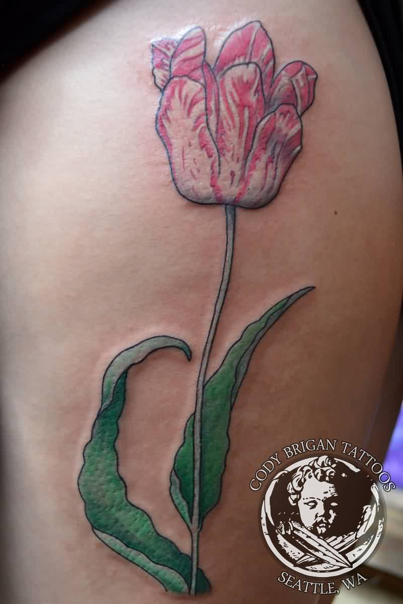 Pink And White Tulip Tattoo