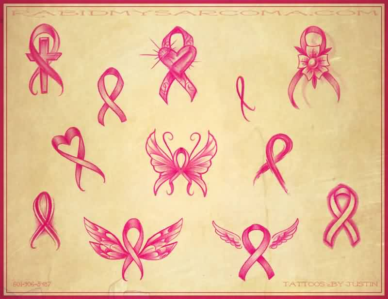 Pink Cancer Ribbon Tattoo Designs