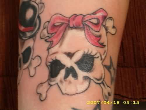 Pink Ribbon Bow On Skull Tattoo
