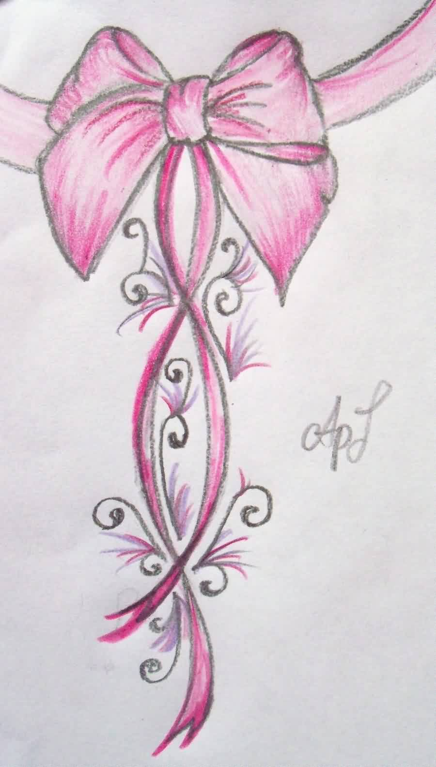 Pink Ribbon Bow Tattoo Drawing