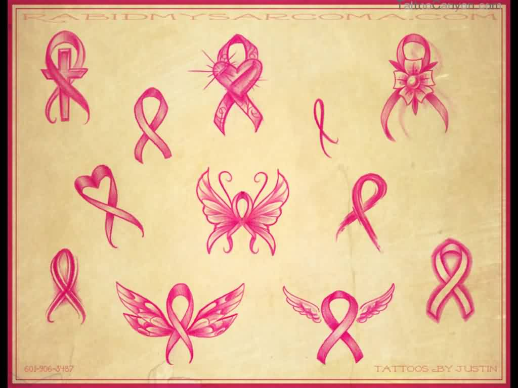 Pink Ribbon Tattoo Designs Sheet
