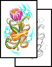 Pink Tulip And Banner Tattoos Design