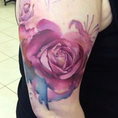 Pink Watercolor Rose Tattoo On Muscles