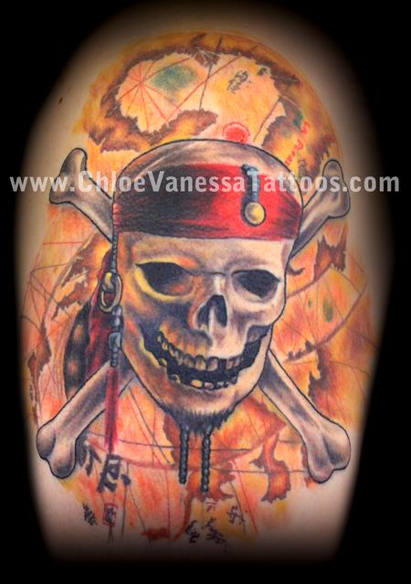 Pirates Caribbean Skull Crossed Bones And Map Tattoos