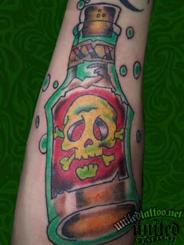 Poison Bottle And Bubble Tattoos On Arm