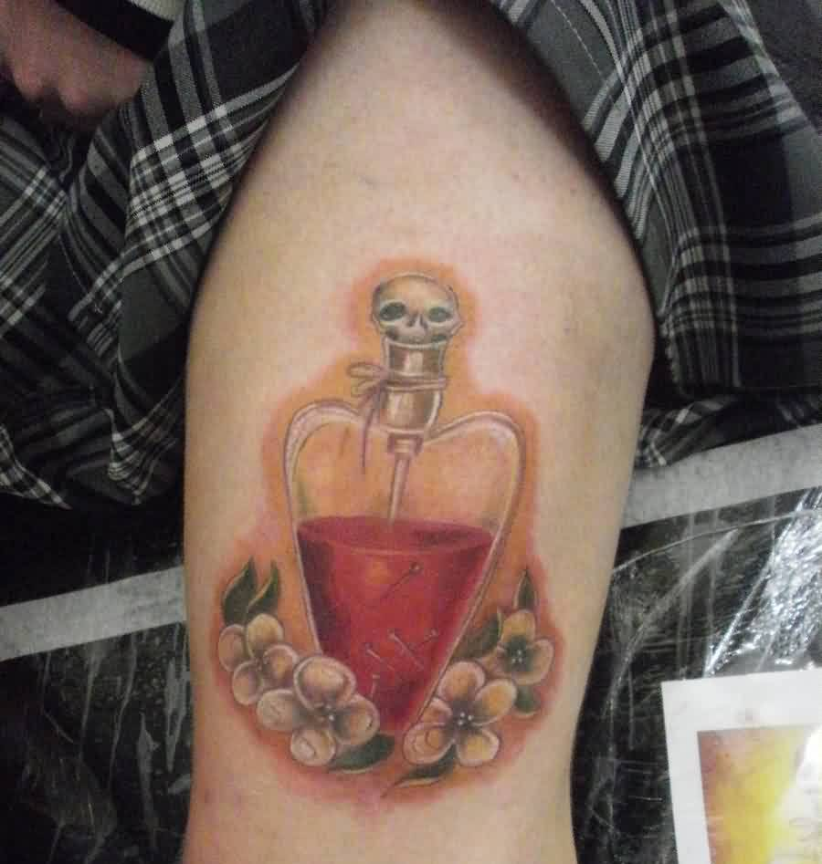 Poison Bottle And Flowers Portrait Tattoos On Thigh