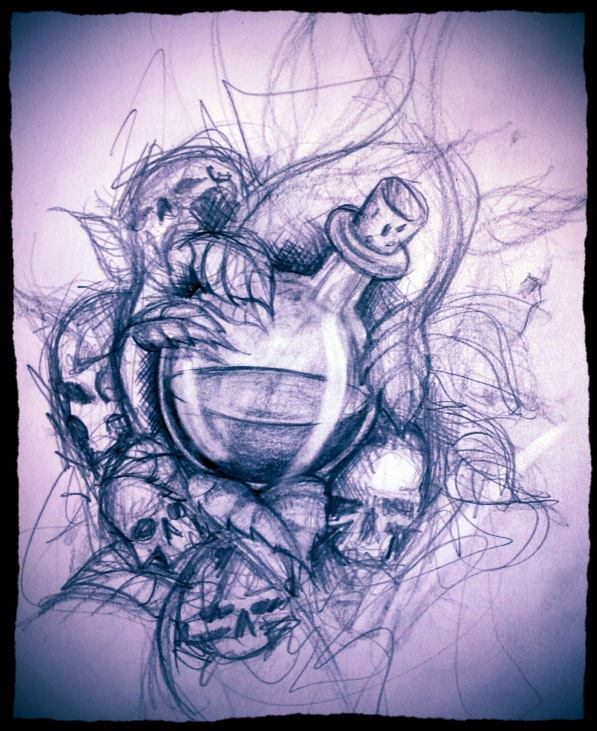 Poison Bottle And Skull Tattoos Drawing