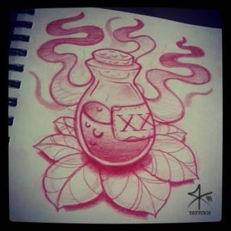 Poison Bottle Tattoo Drawing (2)