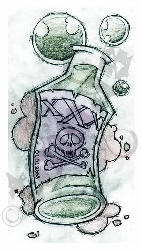 Poison Bottle Tattoo Sketch