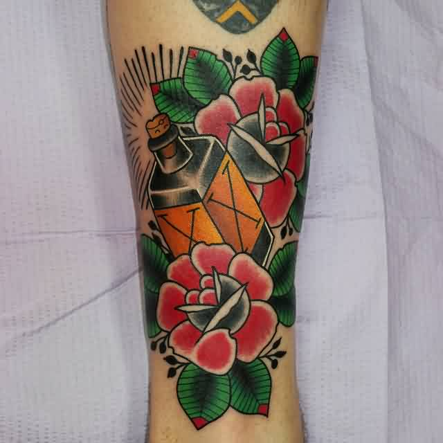 Poison Bottle Tattoo With Roses