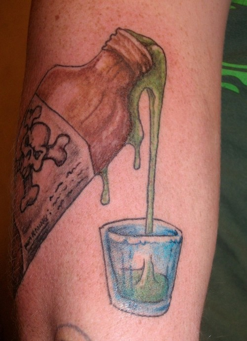 Poison Pouring From Bottle To Glass Tattoo