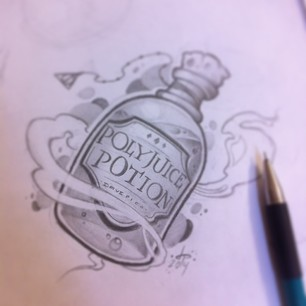 Poly Juice Potion Bottle Tattoo Drawing