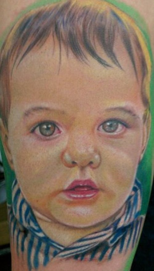 Portrait Tattoo Of A Cute Baby