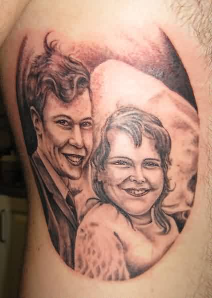 Portrait Tattoos Of Young Couple
