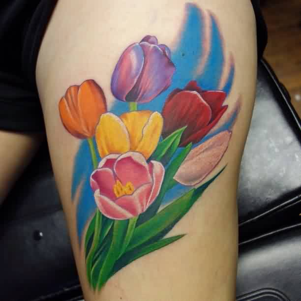 Pretty Colorful Tulips Flower Tattoos