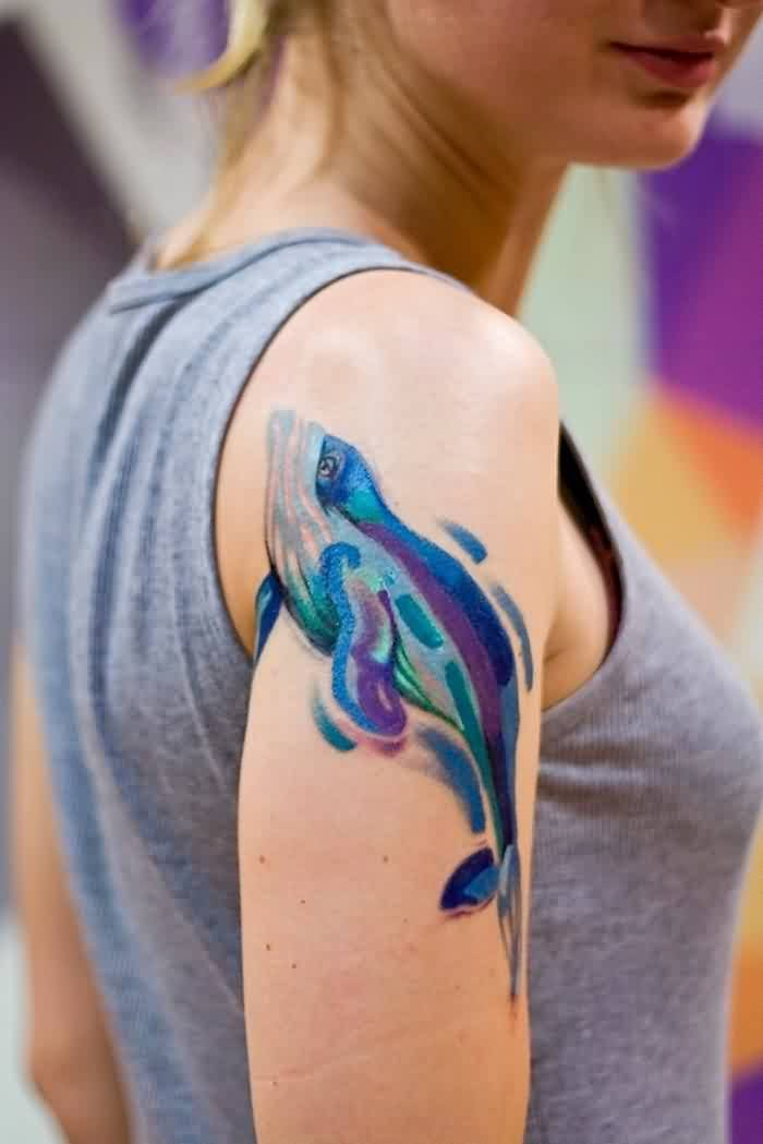 Pretty Dolphin Watercolor Tattoo Specially For Girls