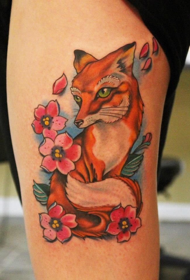 Pretty Flowers And Animal Tattoos