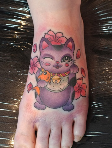 Pretty Flowers And Lucky Cat Tattoos On Foot
