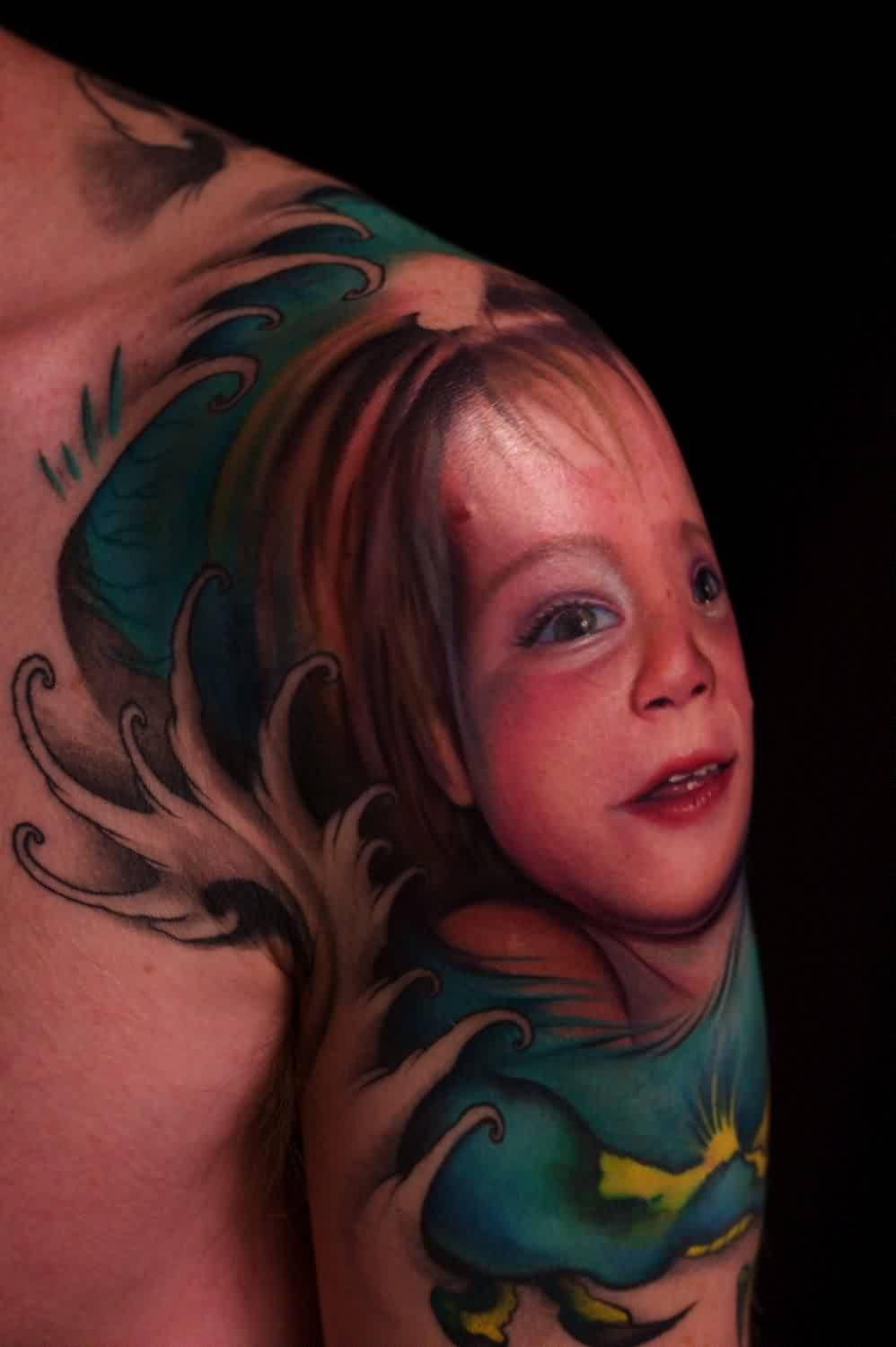 Pretty Girl Portrait Tattoo On Shoulder