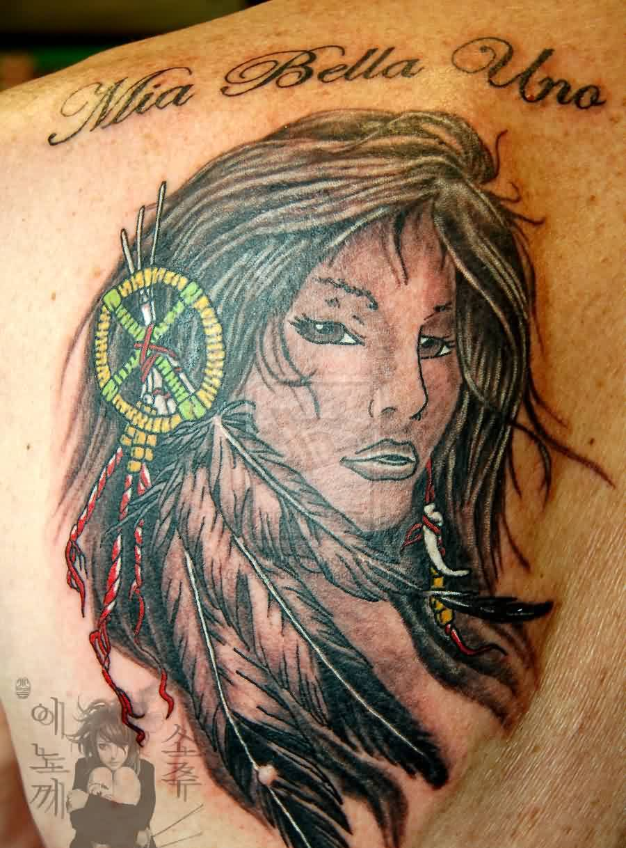 Pretty Indian Girl Portrait Tattoo On Back
