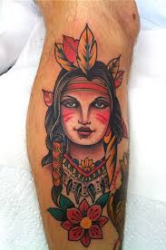 Pretty Native American Portrait And Flower Tattoos