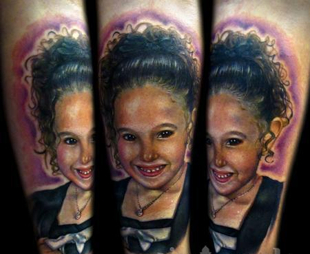 Pretty Smiling Girl Portrait Tattoos
