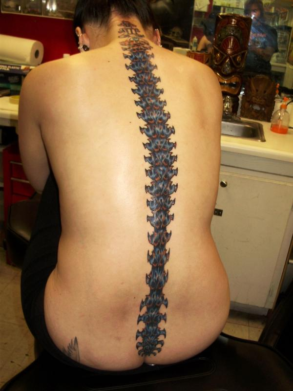 Pretty Spine Bone Tattoo