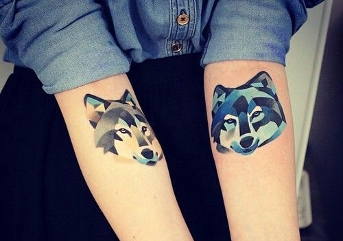 Pretty Watercolor Animal Head Tattoos On Forearms