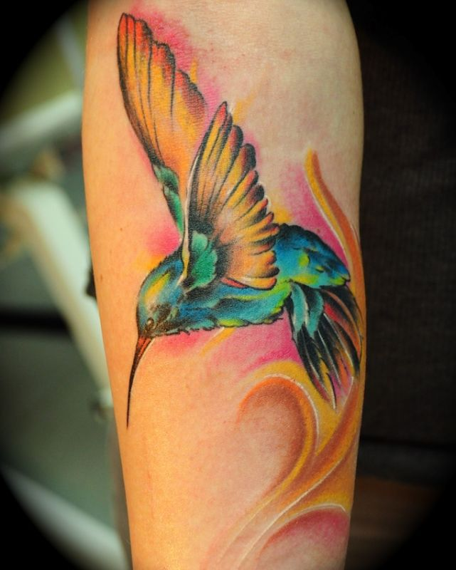 Pretty Watercolor Bird Tattoo (3)