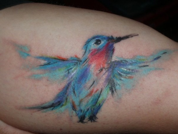 Pretty Watercolor Bird Tattoo (4)
