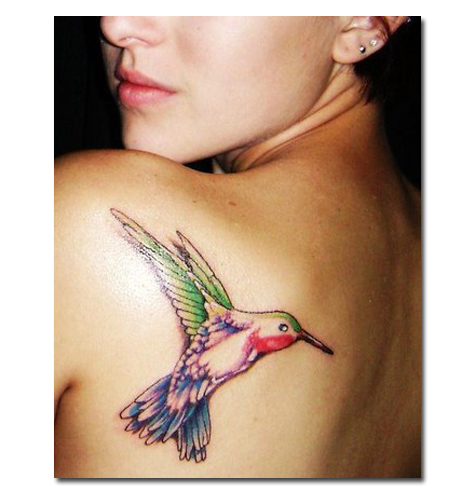 Pretty Watercolor Bird Tattoo (5)